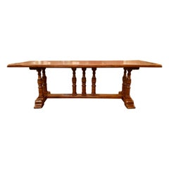 Antique English Yew Wood Trestle Table, Circa 1860