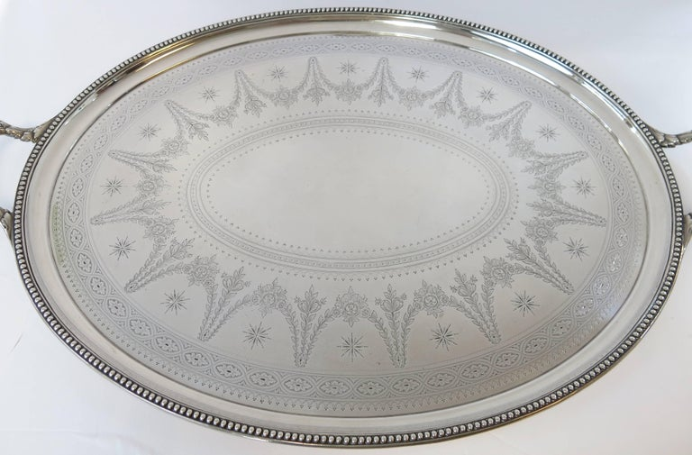 A Fine, Hand Engraved, Oval, 2 Handled Sterling Silver Tray Made By Elkington, Dated 1866. The Tray Has Beautifully Hand Engraved Decoration On Surface Of Tray, With An Applied Bead Border & Reeded Handles. Fully & Correctly Hallmarked On Rear Of