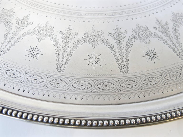 Victorian Large Antique English, Sterling Silver Two Handled Tray by Elkington & Co For Sale