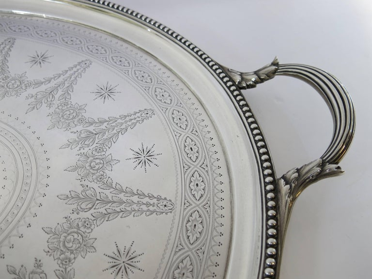 Mid-19th Century Large Antique English, Sterling Silver Two Handled Tray by Elkington & Co For Sale