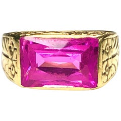 Antique Engraved 14 Carat Yellow Gold Pink Quartz Ring