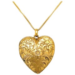 Antique Engraved 14 Karat Yellow Gold Heart Locket Necklace