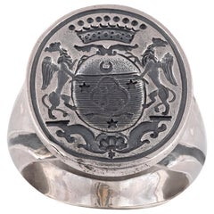 Antique Engraved Armorial Silver Signet Men's Ring