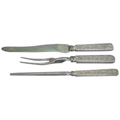 Antique Engraved by Tiffany & Co. Sterling Silver Roast Carving Set 3-Piece