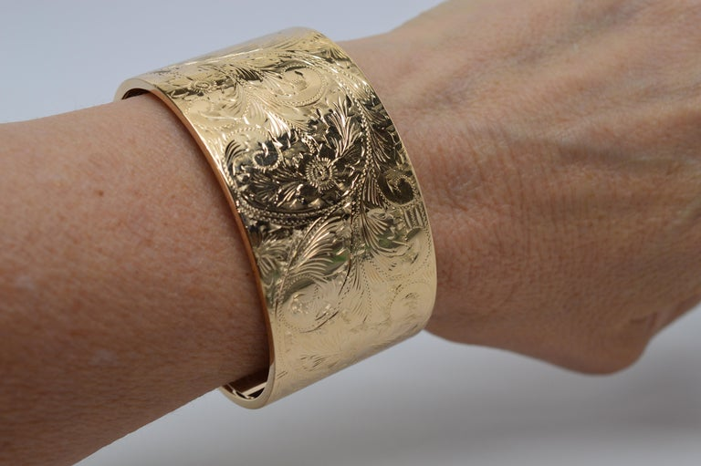 Engraved Gold Wide Cuff Bracelet At 1stdibs