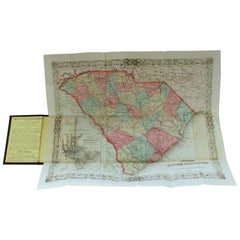 Antique Engraved Hand Colored Colton & Co. Pocket Book Map of South Carolina