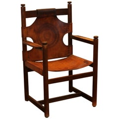 Antique Engraved Leather Armchair