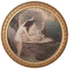 "Antique Engraving after the Original Painting of Herbert Draper ""A Water Baby"""