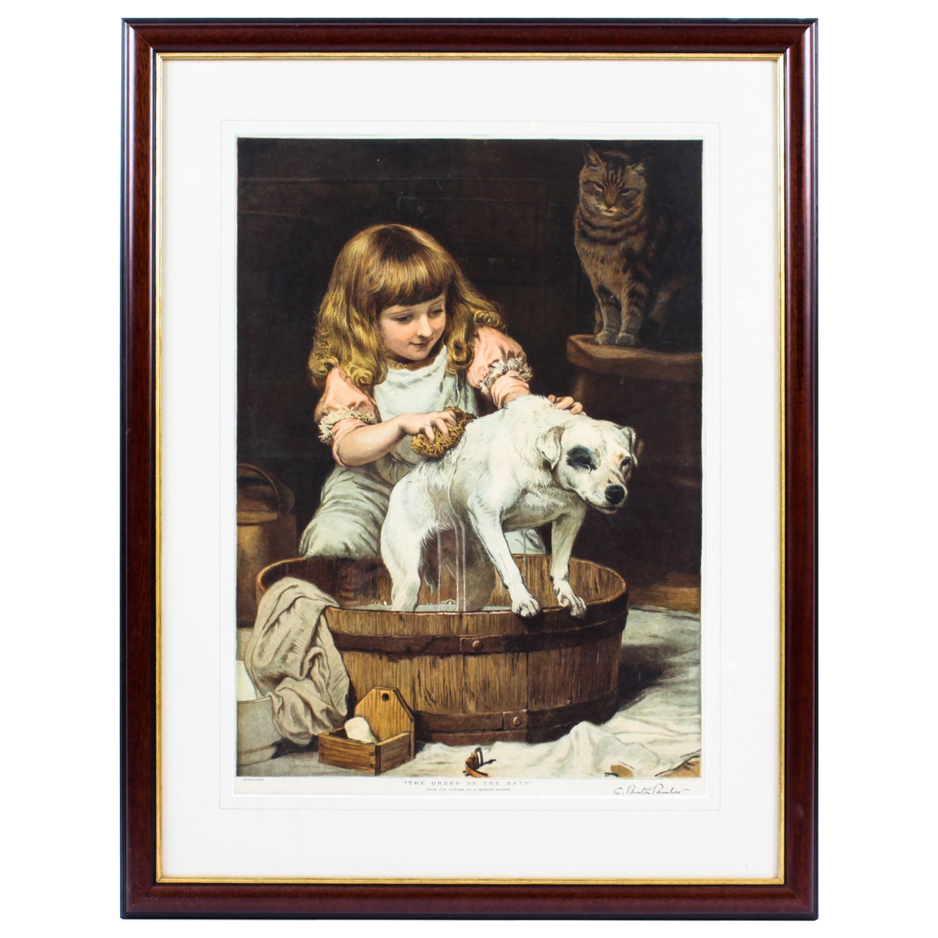 """Antique Engraving Print """"The Order Of The Bath"""" Burton Barber, 1920s"""