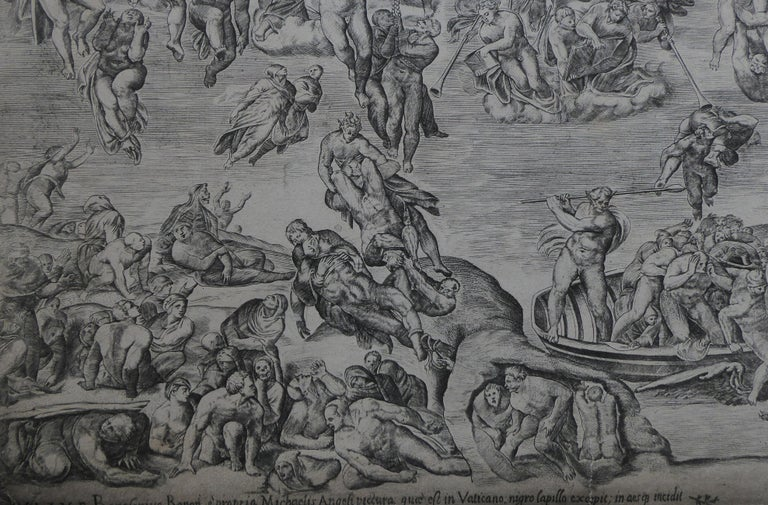 Antique Engraving 'the Last Judgement from the Sistine Chapel' In Fair Condition For Sale In Glencarse, Perthshire
