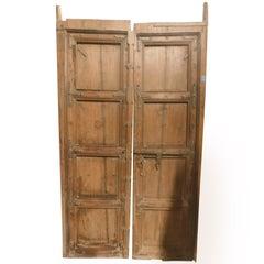 Antique Entrance Door in Brown Light Wood, Original Irons, Ethnic Asia, 1800