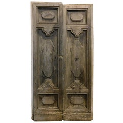 Antique Entrance Door, in Carved Brown Chestnut, to Restored, 1700, Italy