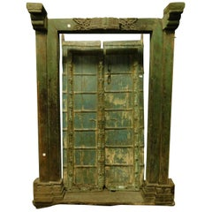 Antique Entrance Door in Green Lacquered Wood, Ethnic Style, 1700