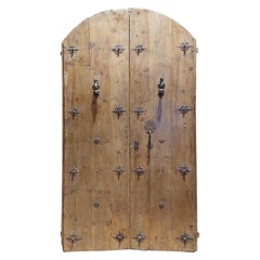 Antique Entrance Door in Larch, Rounded with Original Irons and Studs, '700