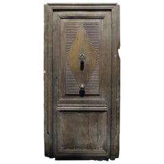 Antique Entrance Door with Frame, Walnut Wood, 19th Century, Italy
