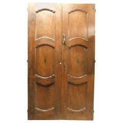 Antique Entrance Double Door, Brown Walnut with a Baroque Feel, '1700, Italy