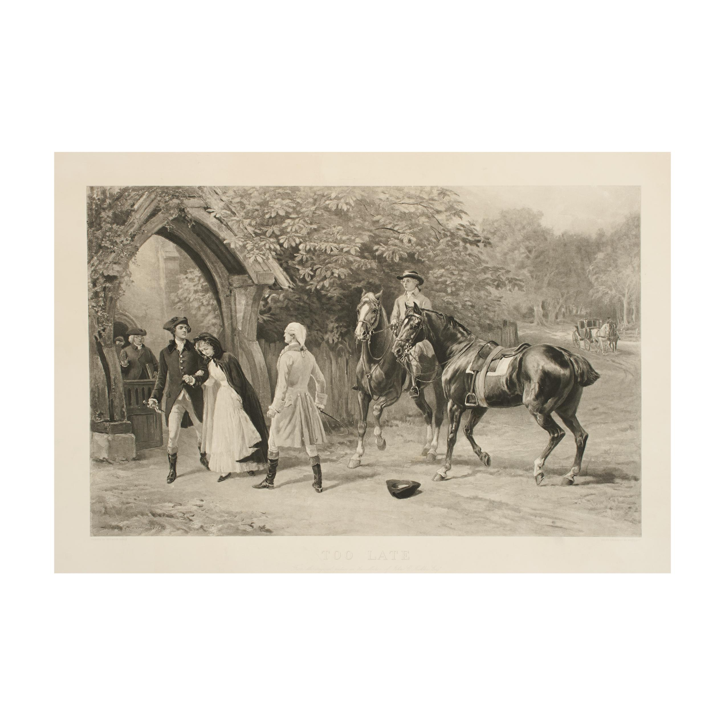 """Antique Equestrian Print, Heywood Hardy Engraving """"Too Late"""""""