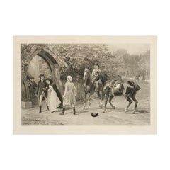 "Antique Equestrian Print, Heywood Hardy Engraving ""Too Late"""