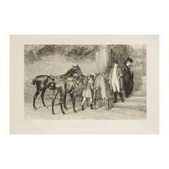 Antique Equestrian Print, Samuel Edmund Waller, Twixt Love and Duty, Photogravur