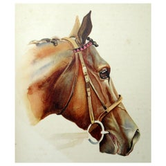 Antique Equine Racehorse Painting Sir Gallahad French Thoroughbred Horse Racing
