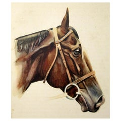 Antique Equine Racehorse Painting Tourbillon French Thoroughbred Horse Racing