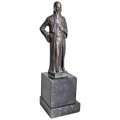 Antique Ernest Beck Patinated Bronze Sculpture of 'Nathan' on Black Marble Base