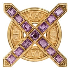 Antique Ernesto Pierret Etruscan Revival Gold and Amethyst Brooch