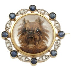Antique Essex Crystal Sapphire and Diamond Yellow Gold 'Brussels Griffon' Brooch