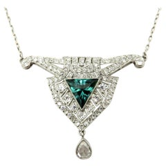 Antique Estate Platinum Art Deco Style Diamond and Green Tourmaline Necklace