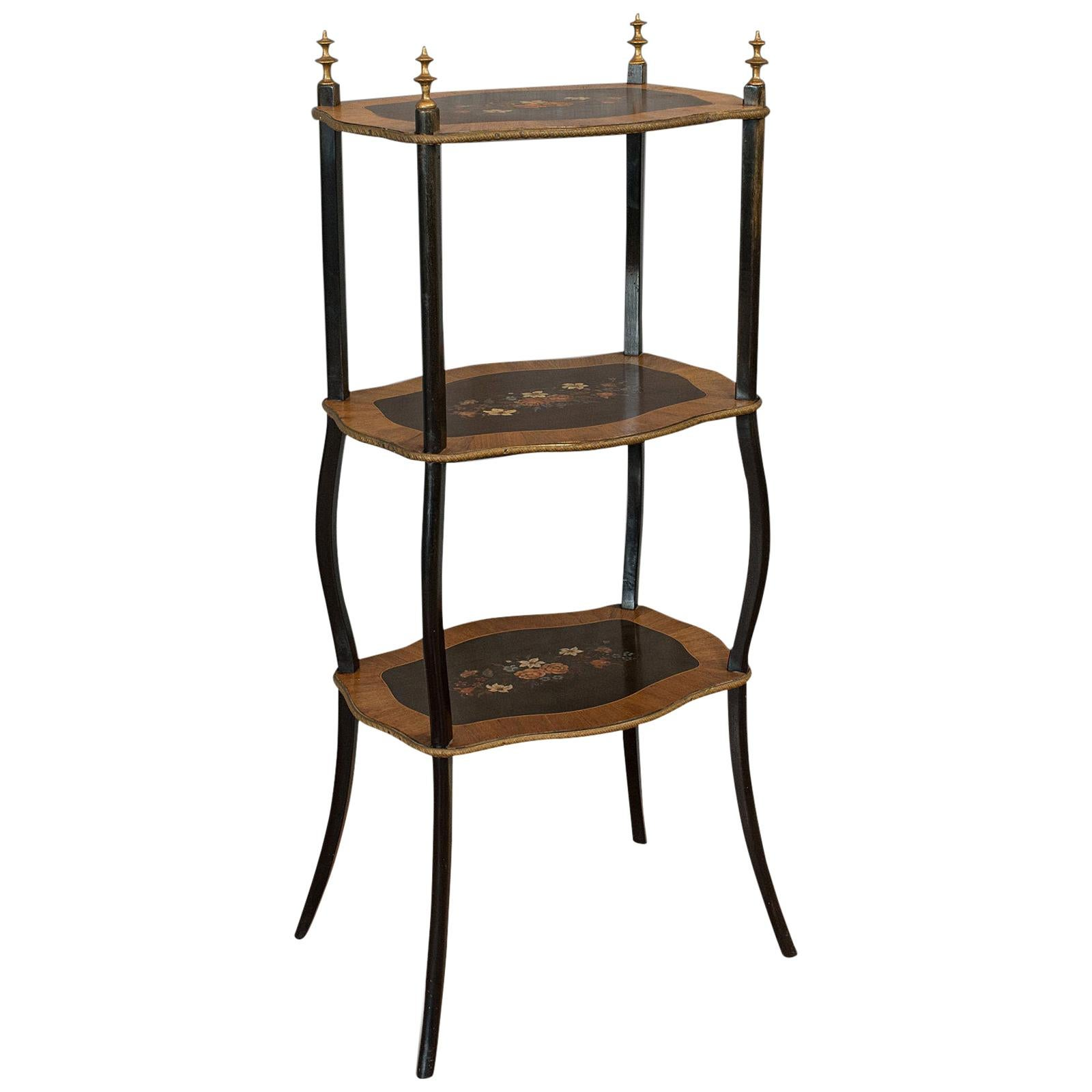 Antique Étagère, French, Mahogany, 3-Tier, Plant, Stand, Whatnot, Victorian