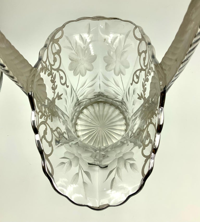 Antique Etched Floral Sterling Silver Overlay Wedding Bride's Basket Vase In Good Condition For Sale In Miami Beach, FL