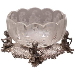 Antique Etched Glass Bowl on a 800 German Silver Bases with Cherubs