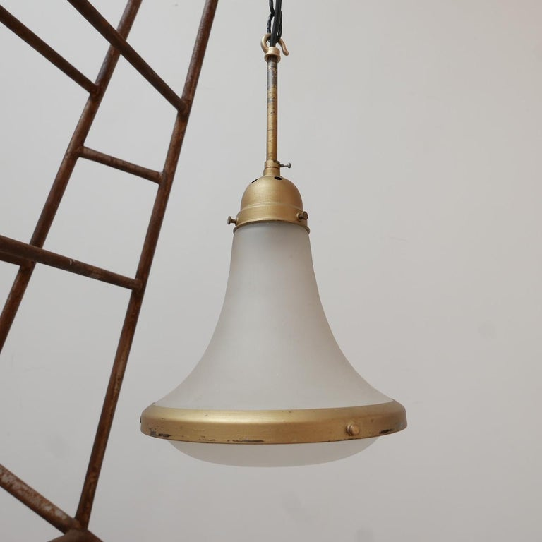 Antique Etched Glass German Pendant Light by A.E.G. For Sale 5