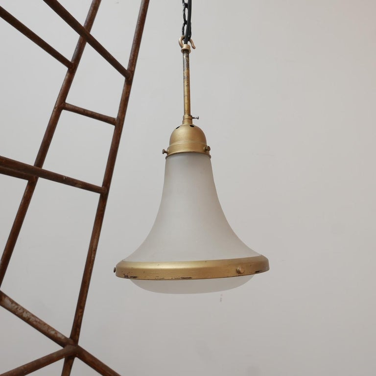 Antique Etched Glass German Pendant Light by A.E.G. In Good Condition For Sale In Surbiton, Surrey