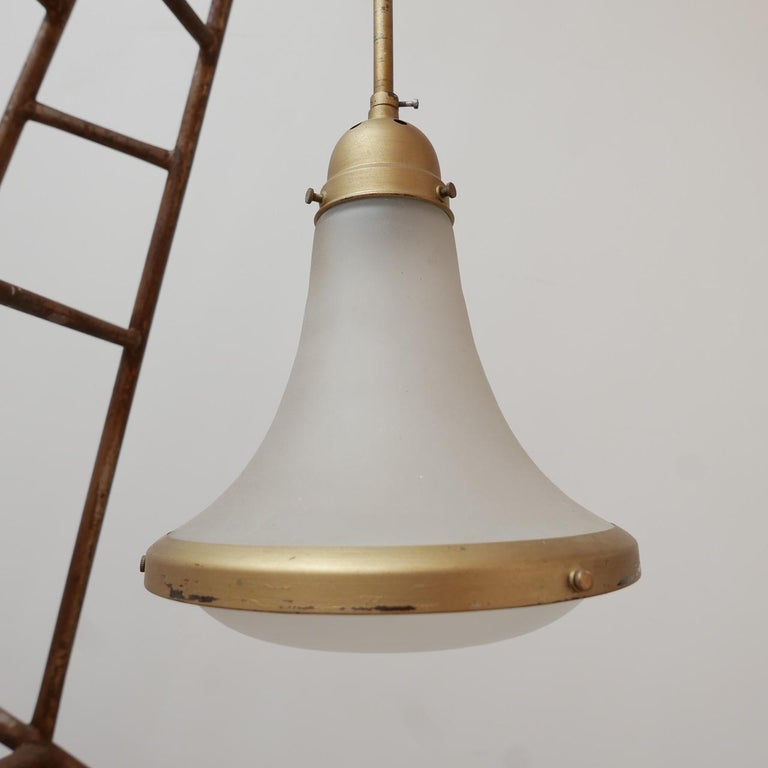 20th Century Antique Etched Glass German Pendant Light by A.E.G. For Sale