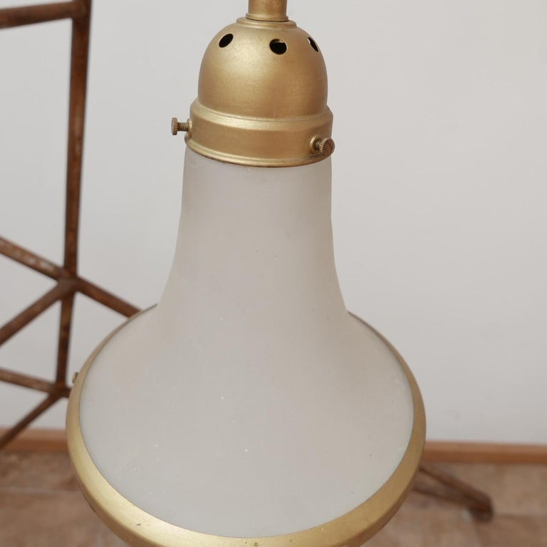 Antique Etched Glass German Pendant Light by A.E.G. For Sale 1