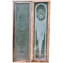 Antique Etched Glass Panels, 20th Century