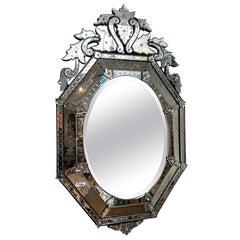 Antique Etched Glass Venetian Mirror