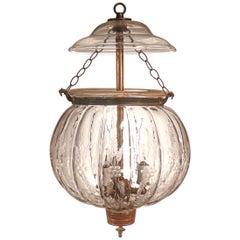 Antique Etched Melon Bell Jar Lantern