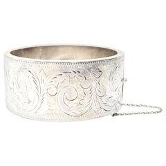 Antique Etched Sterling Silver Wide Bangle Bracelet
