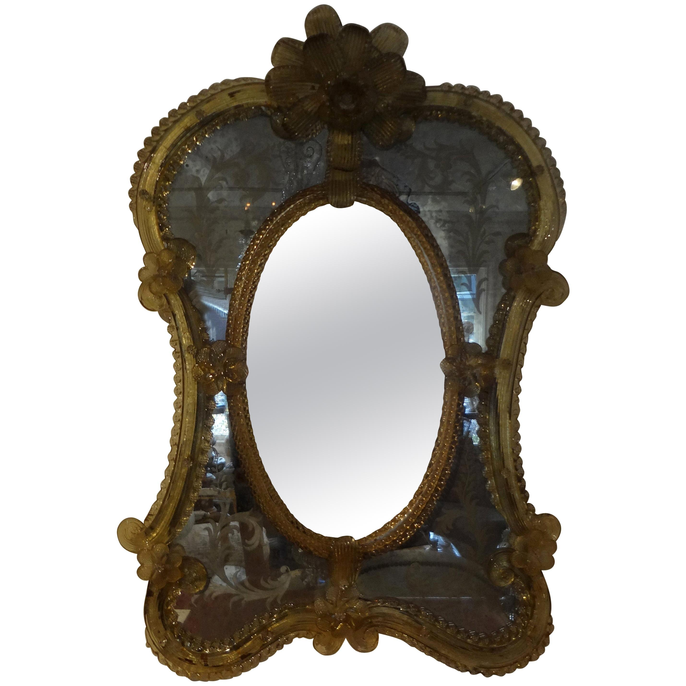 Antique Etched Venetian Mirror