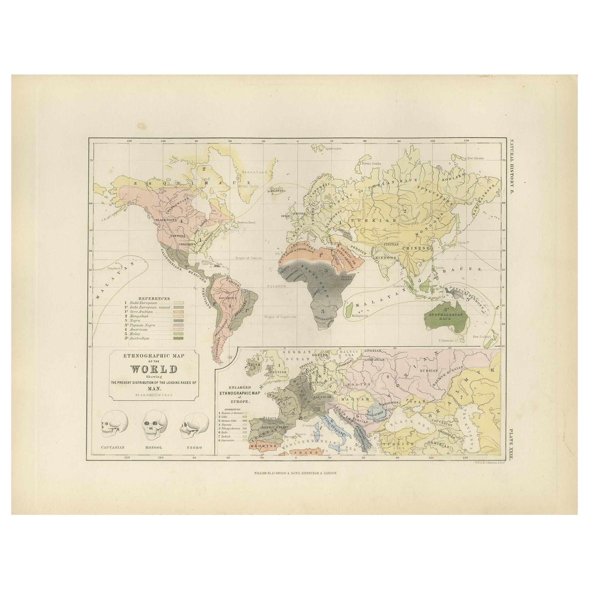 Antique Ethnographic Map of the World by Johnston '1850'