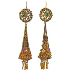 Antique Etruscan Emerald Ruby Gold Drop Earrings
