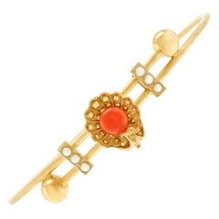 Antique Etruscan Revival Coral and Pearl Set Bracelet