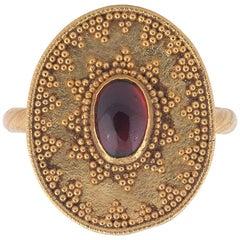 Antique Etruscan Revival Garnet Ring