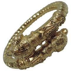 Antique Etruscan Revival Italian 18 Karat Gold Ram's Head Bangle Bracelet