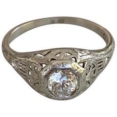 Antique Euro Cut .5 Carat Diamond Platinum Ring