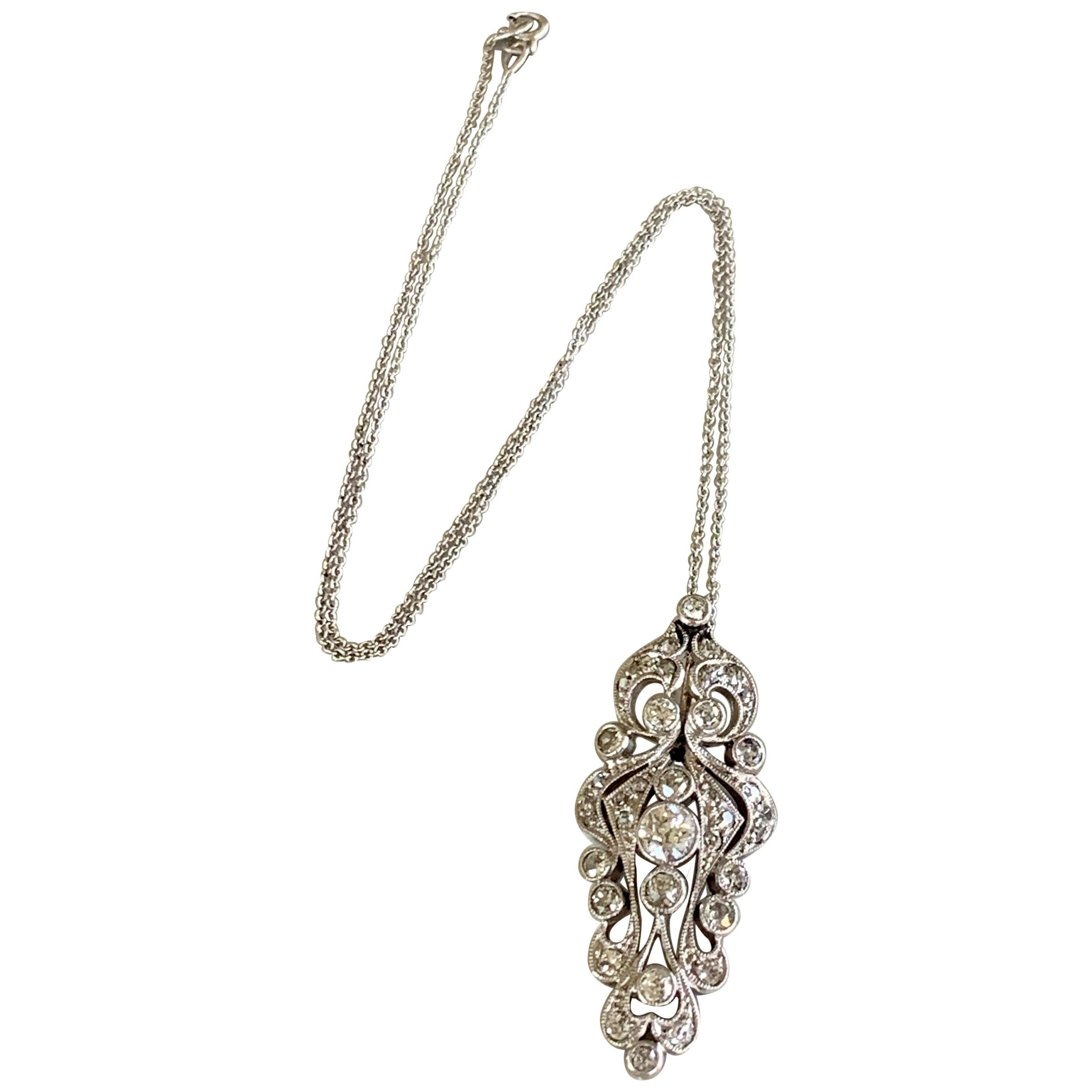 Antique Euro Cut Diamond Platinum Pendant and 14 Karat White Gold Chain