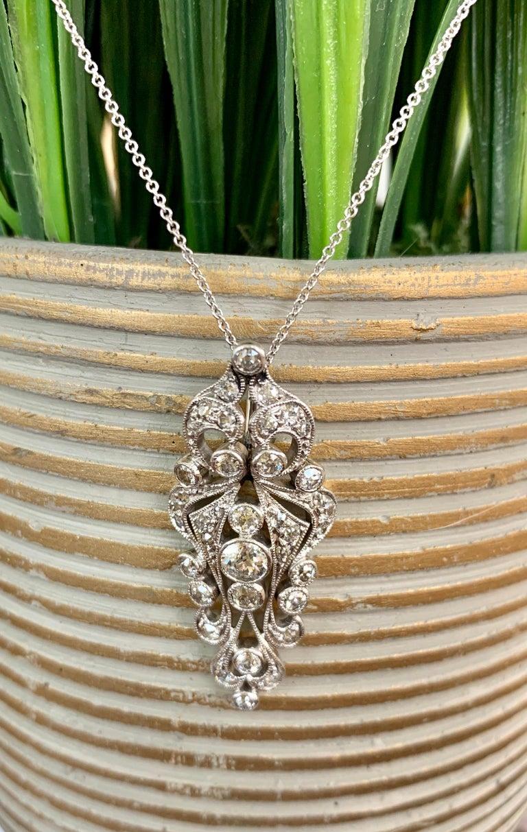 Women's or Men's Antique Euro Cut Diamond Platinum Pendant and 14 Karat White Gold Chain For Sale