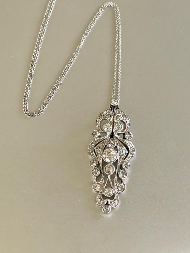 Antique Euro Cut Diamond Platinum Pendant and 14 Karat White Gold Chain For Sale 1
